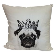 Crowned Pug Pillow.