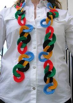Olympic Rings Scarflette Crochet Pattern PDF