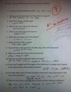 The test makes no sense but this kid has a good sense of humor