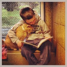Students reading to shelter cats. This helps socialize cats for adoption and helps kids build reading skills. Adorable!