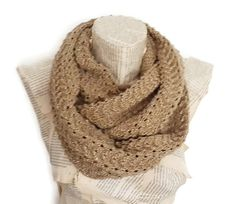 Camel Winter Scarf Knitting Infinity Scarf Silvery by HeraScarf, $30.00
