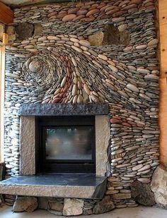 Split stone and whole stone wood burning fireplace