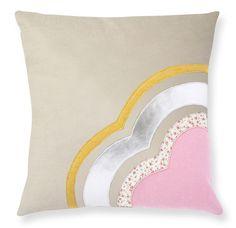 cushion in wool felt with appliqued designs, from muusa. $78