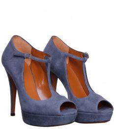 Gucci Grey Suede T bar Peep Toe Shoe