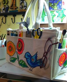 Lucy's Lampshade: Tool bag turned art journaling supply bag.