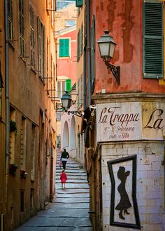 Streets of Nice's old town, France