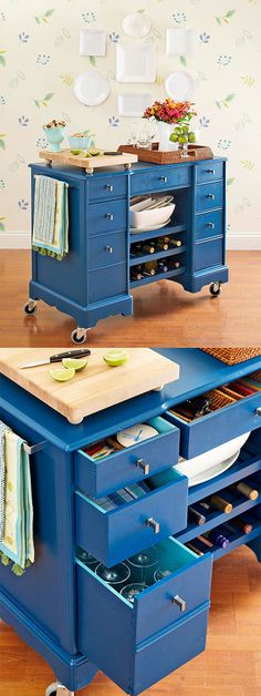 DIY MOBIL BAR ~  A few quick fixes can transform a tired garage sale desk into the star of any gathering. Start by applying fresh paint. Then install new knobs and wheels and add a few extra shelves to redefine the old piece. Could also make a great kitchen island if bolted down.
