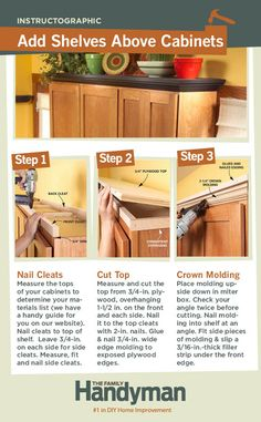 DIY Tutorial: How to Add Shelves Above Your Kitchen Cabinets.