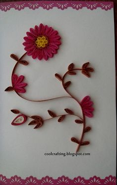 Quilled card - Pink flowers
