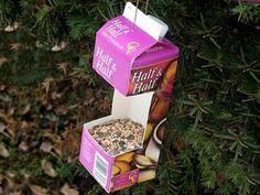 bird feeders, milk cartons, paint, earth day crafts, recycled crafts, preschool crafts, birds, earthday, kid