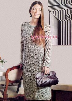 Крючок вязание теплое платье