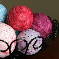 A tutorial for creating fabric covered Styrofoam balls.