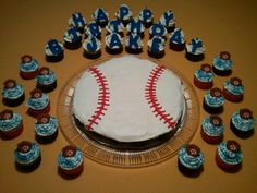 Pull-Apart Baseball Cake and Cupcakes for a Friend Birthday Tomorrow!!!