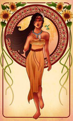 Pocahontas, Pocahontas | These Mucha-Inspired Disney Princesses Are Stunning