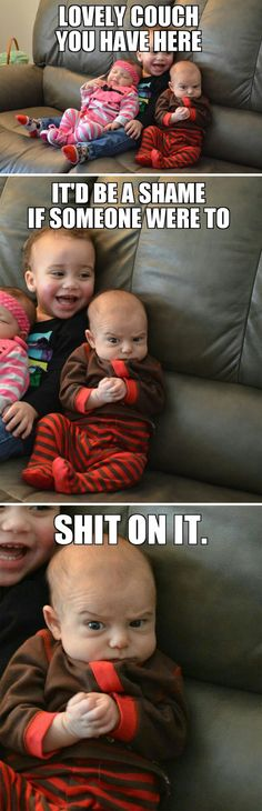 What I thought when I saw the plotting baby  // funny pictures - funny photos - funny images - funny pics - funny quotes - #lol #humor #funnypictures couch, the face, funny pictures, funni, baby memes, funny quotes, baby faces, baby humor, funny babies