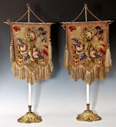 Antique Victorian Pair of Needlepoint, Beadwork Face Screens with Original Stands, Fringe.  Photo credit: Antiques & Uncommon Treasure