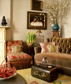 Bohemian inspired living room in warm spice colors.