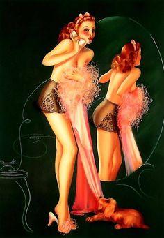 Celos   American girl   Billy De Vorss   Pin-Up artist #Pin-Ups #Girls #Vintage #deFharo #Posters #redheads
