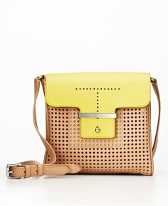 ANN TAYLORColorblock Perforated Leather Mini Bag