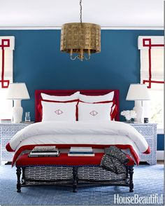 wall colors, red white blue, bedroom walls, blue bedrooms