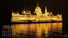 Budapest Parliament - Desktop Calendar / Wallpaper – January 2014
