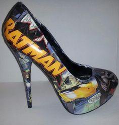Decoupage Batman Heels by custombykylee on Etsy, $70.00