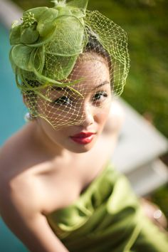 TITLED green bliss. Nice use of veiling and color coordination. #millinery #judithm #hats