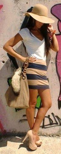 white v-neck tee, grey/tan striped mini, nude pumps, floppy hat, large bag