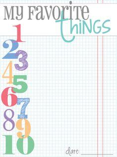Free Favorite Things Journal Card