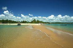 """Onde o mar encontra o mar.  Praia da Coroa Vermelha que fica no distrito de Santa Cruz Cabrália. Na maré baixa o banco de areia forma pequenos caminhos que permitem """"caminhar"""" pelo mar."""