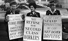 1968: Women bus conductors protest for equal rights at work.