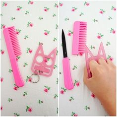 [Cute li'l pink comb and kitty keychain which are, as it turns out, a hidden knife and pointy knuckledusters, respectively]