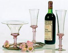 Italian Pink Crystal Stemware www.couturehomeaz.com