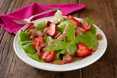 Strawberry-almond salad with balsamic-fig dressing from Recipe Renovator | Gluten-free & Vegan