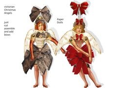 Victorian Paper Doll Angels  Printable Paper creation DIY paper doll are an instant digital download  just cut and assemble add what ever