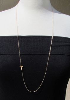 LONG TINY Gold Sideways Cross NecklaceOFF Center 32 by gemsinvogue, $36.00