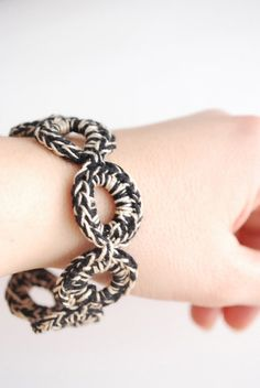 2 tone colour Crocheted Bracelet Black and Beige by TheNewcrochet, €8.00