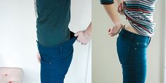 Tutorial for taking in your jeans' waistband.