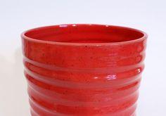Large Kitchen Utensil Holder Red Ceramic by LaurenBauschOriginal, $46.00