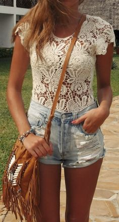 Lace Top + Denim Shorts + Fringe Bag