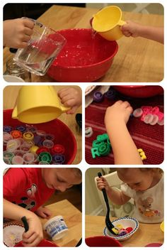 School Time Snippets: Bottle Cap Soup for #Kids #Play {Fine Motor Friday}