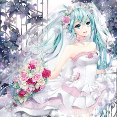 "Art of Hatsune Miku from ""Vocaloid"" game & series by manga artist Cocoon."
