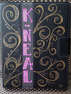 Katherine's iPad cover--Pink is Sharpie pink/rose oil based fine point; gold is metallic gold Sharpie marker, med. pt. Pad cover is black vinyl with grey vinyl strip.