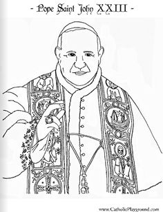 Pope Saint John xxiii Catholic Coloring Page for kids to colour  Feast day was moved from October 11 to June 3