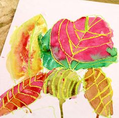 Fall Leaves Crayon Resist Paintings