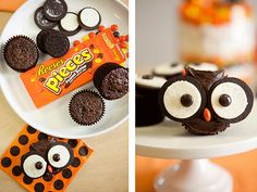 These Owl Cupcakes are too cute! http://www.ivillage.com/easy-halloween-snack-and-treat-recipes-kids/6-b-492954#543894