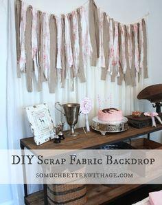 DIY Scrap Fabric Backdrop {Vintage Equestrian Party}