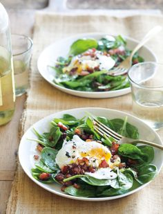 Spinach Salad with Poached Eggs and Pancetta
