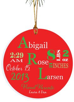 Personalized Christmas Ornament Birth Christmas by TheCuteTee