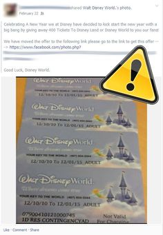 Don't fall for a Disney World vacation scam! Do you see the extra . after Walt Disney World? It's not the real Facebook profile!